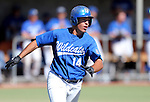 Western Nevada's Connor Klein runs to first on a one-run single in a college baseball game against Salt Lake Community College in Carson City, Nev., on Friday, March 1, 2013..Photo by Cathleen Allison/Nevada Photo Source