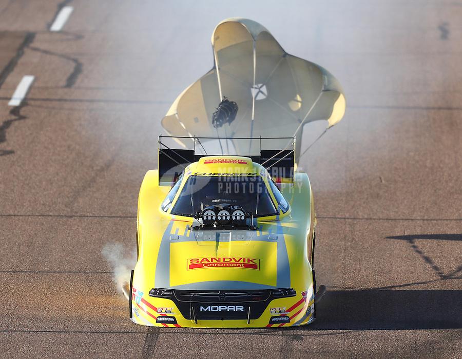 Feb 24, 2017; Chandler, AZ, USA; NHRA funny car driver Matt Hagan during qualifying for the Arizona Nationals at Wild Horse Pass Motorsports Park. Mandatory Credit: Mark J. Rebilas-USA TODAY Sports