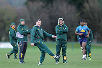 Rassie Erasmus (Centre) Head Coach of South Africa in action during the South Africa Training Session at The WSC Trefforest Grounds in Trefforest, Wales, UK. Monday 19 November 2018