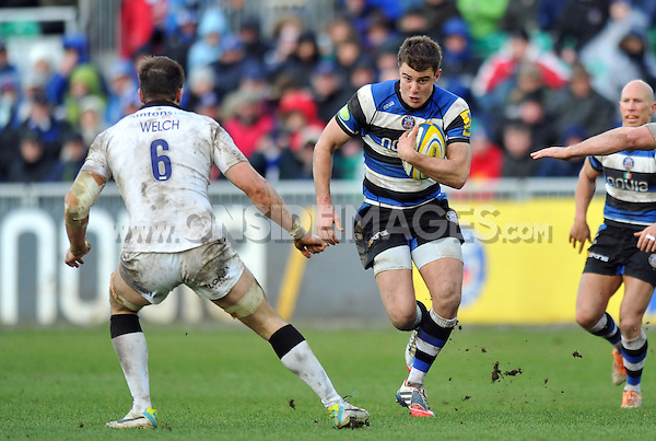 Ollie Devoto goes on the attack. Aviva Premiership match, between Bath Rugby and Newcastle Falcons on February 8, 2014 at the Recreation Ground in Bath, England. Photo by: Patrick Khachfe / Onside Images