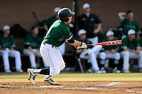 Second baseman Erik Samples (1) of the University of South Carolina Upstate Spartans bats in a game against the Citadel Bulldogs on Tuesday, February, 18, 2014, at Cleveland S. Harley Park in Spartanburg, South Carolina. Upstate won, 6-2. (Tom Priddy/Four Seam Images)