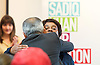 Sadiq Khan <br /> Labour mayor of London candidate speech at the university he attended, on increasing opportunities for all Londoners at London Metropolitan University, Holloway, London, Great Britain <br /> 25th April 2016 <br /> <br /> Sadiq Khan hugs Doreen Lawrence, Baroness Lawrence of Clarendon, OBE who introduced him <br /> <br /> Photograph by Elliott Franks <br /> Image licensed to Elliott Franks Photography Services