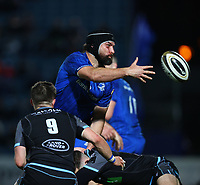 28th February 2020; RDS Arena, Dublin, Leinster, Ireland; Guinness Pro 14 Rugby, Leinster versus Glasgow; Scott Fardy (Captain Leinster) offloads as he is tackled
