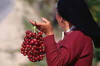Verkauf von Kirschen in der Beira Alta, Portugal