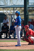 Chicago Cubs first baseman Adonis Paula (18) during a Minor League Spring Training game against the Los Angeles Angels at Sloan Park on March 20, 2018 in Mesa, Arizona. (Zachary Lucy/Four Seam Images)