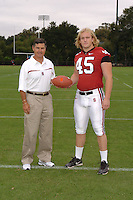7 August 2006: Stanford Cardinal head coach Walt Harris and Ben Ladner during Stanford Football's Team Photo Day at Stanford Football's Practice Field in Stanford, CA.