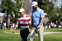 Dustin Johnson (USA) & Rory McIlroy (NIR) In action during the second round of the The Genesis Invitational, Riviera Country Club, Pacific Palisades, Los Angeles, USA. 13/02/2020<br /> Picture: Golffile | Phil Inglis<br /> <br /> <br /> All photo usage must carry mandatory copyright credit (© Golffile | Phil Inglis)