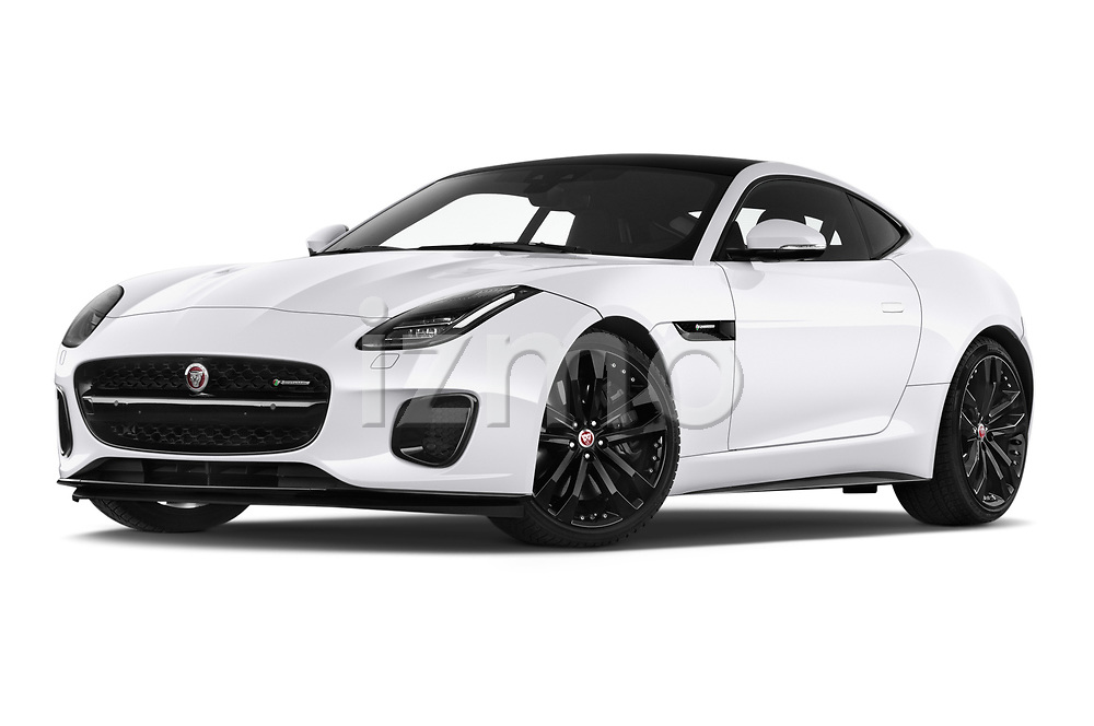 Stock pictures of low aggressive front three quarter view of 2019 Jaguar F-Type R-Dynamic 2 Door Coupe Low Aggressive