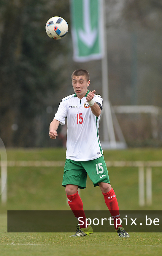 20160324 - Buderich , GERMANY : Bulgarian Denis Buchev pictured during the soccer match between the under 17 teams of The Netherlands and Bulgaria , on the first matchday in group 4 of the UEFA Under17 Elite rounds in Buderich , Germany. Thursday 24th March 2016 . PHOTO DAVID CATRY
