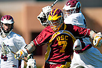 Los Angeles, CA 02/20/10 - Andrew Smulligan (USC # 7) and Magnus Karlsson (LMU # 17) in action during the USC-Loyola Marymount University MCLA/SLC divisional game at Leavey Field (LMU).  LMU defeated USC 10-7.