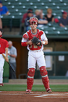 Peoria Chiefs catcher Steve Bean (8) during a game against the Wisconsin Timber Rattlers on August 21, 2015 at Dozer Park in Peoria, Illinois.  Wisconsin defeated Peoria 2-1.  (Mike Janes/Four Seam Images)
