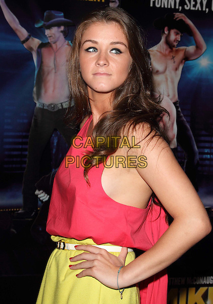 Brooke Vincent.'Magic Mike' UK Premiere, May Fair Hotel, London, England..July 10th, 2012.half length pink top yellow skirt hands on hips sleeveless side boob.CAP/ROS.©Steve Ross/Capital Pictures
