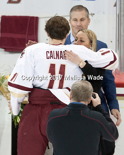 Chris Calnan (BC - 11), Janine Vazza - The visiting University of Vermont Catamounts tied the Boston College Eagles 2-2 on Saturday, February 18, 2017, Boston College's senior night at Kelley Rink in Conte Forum in Chestnut Hill, Massachusetts.Vermont and BC tied 2-2 on Saturday, February 18, 2017, Boston College's senior night at Kelley Rink in Conte Forum in Chestnut Hill, Massachusetts.