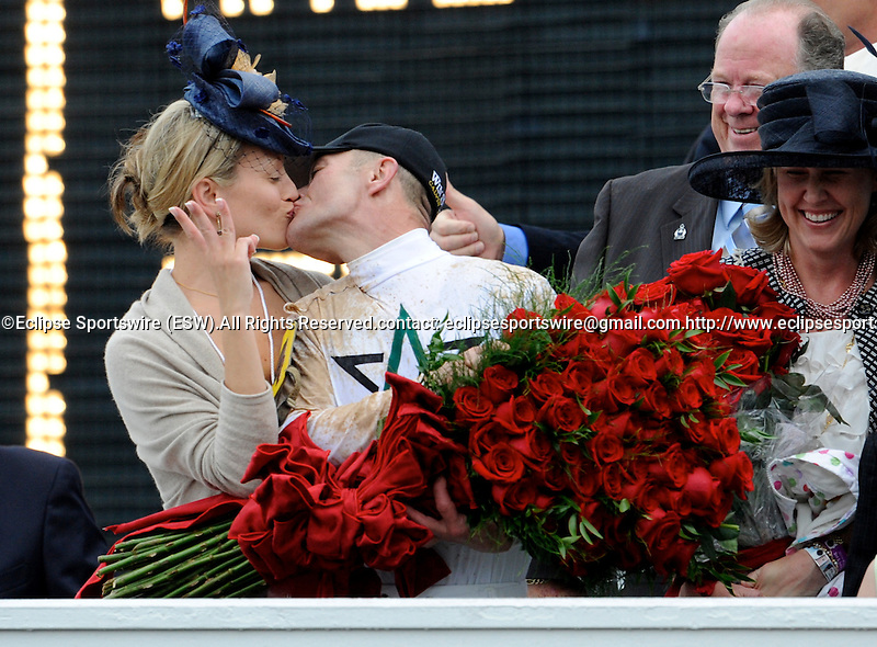 1 May 10: Calvin Borel and Lisa Borel kiss after Super Saver won the 136th running of the Kentucky Derby at Churchill Downs in Louisville, Kentucky