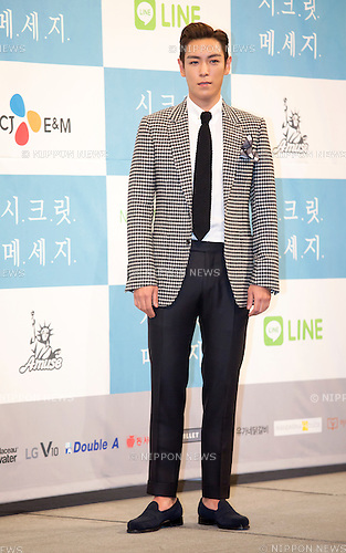 "T.O.P (Big Bang), Oct  28, 2015 : South Korean actor and singer T.O.P poses during a press presentation of new drama, ""Secret Message"" in Seoul, South Korea. ""Secret Message"" is a Korean-Japanese web drama series which will air online from early November. (Photo by Lee Jae-Won/AFLO) (SOUTH KOREA)"