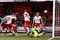 Chris Beardsley of Stevenage (20) sees his shot hit the bar. - Stevenage v Tranmere Rovers - npower League 1 - Lamex Stadium, Stevenage - 17th December 2011  .© Kevin Coleman 2011 ... ....  ...  . .