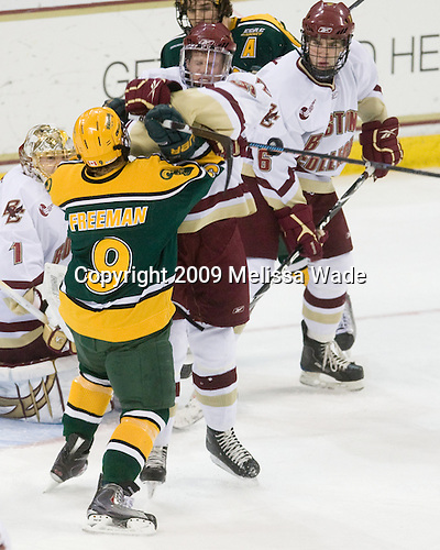 Scott Freeman (Clarkson - 9), Philip Samuelsson (BC - 5) - The Boston College Eagles defeated the Clarkson University Golden Knights 6-5 on Friday, November 27, 2009, at Conte Forum in Chestnut Hill, Massachusetts.