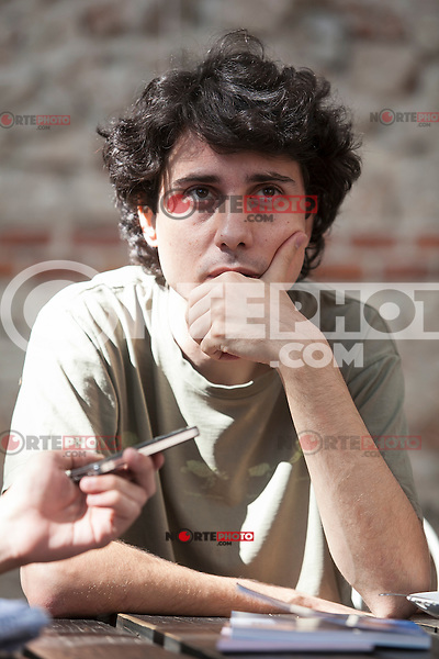 Spanish film director Jonas Trueba during the presentation of his new film 'Los exiliados romanticos' in Madrid, Spain. September 03, 2015. (ALTERPHOTOS/Victor Blanco)