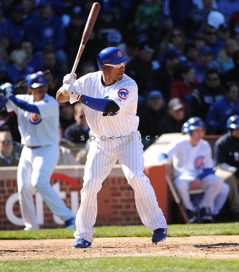 MARLON BYRD, of the Chicago Cubs, in action during the Cubs home opener against the Washington Nationals on April 5, 2012, at Wrigley Field in Chicago, IL. The Nationals beat the Cubs 2-1.