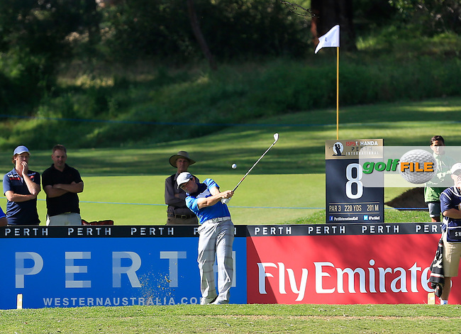 Simon Houston (AUS) on the 8th tee during Round 1 of the ISPS HANDA Perth International at the Lake Karrinyup Country Club on Thursday 23rd October 2014.<br /> Picture:  Thos Caffrey / www.golffile.ie