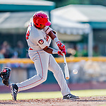 16 July 2017: Auburn Doubledays infielder Omar Meregildo in action against the Vermont Lake Monsters at Centennial Field in Burlington, Vermont. The Monsters defeated the Doubledays 6-3 in NY Penn League action. Mandatory Credit: Ed Wolfstein Photo *** RAW (NEF) Image File Available ***