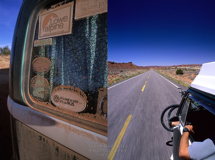 V.W. Westfalia Camper cruising down the desert highway, Utah 95, Near Natural Bridges National Monument, and sand covered stickers on rear window of bus..
