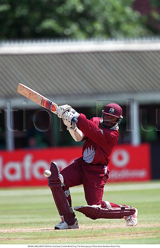 BRIAN LARA, WEST INDIES v Scotland, Cricket World Cup, The Oval 990527 Photo:Steve Bardens/Action Plus...1999.Batsman.batting.Vodafone.cricket.coloured strip.pyjamas