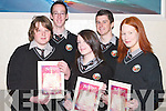 5487- 5492.CHIARRAI: Some of the students from Gaelcholaiste Chiarrai, Moyderwell, Tralee, with their Graduation Certificates at Manor West Hotel, Tralee, on Friday evening. Front l-r: Sean O hAlmain, Cait Ni hAlmain agus Aisling Ni Shiochain. Back l-r: Pol O Hodhrain agus Dylan Seymour..