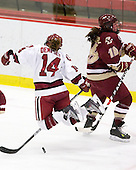 Jillian Dempsey (Harvard - 14), Ashley Motherwell (BC - 18) - The Harvard University Crimson defeated the Boston College Eagles 5-0 in their Beanpot semi-final game on Tuesday, February 2, 2010 at the Bright Hockey Center in Cambridge, Massachusetts.