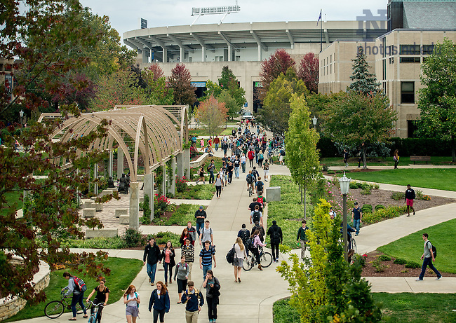 Oct. 2, 2014; Students walking near DeBartolo. (Photo by Matt Cashore/University of Notre Dame)