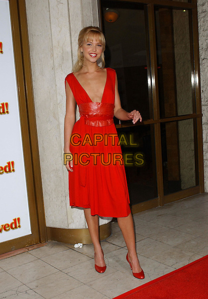 "ARIELLE KEBBEL.At the United Artists' World Premiere of ""Saved!"" at the Mann National Theatre, .Westwood, California,.May 13,2004.full length full-length red dress plunging neckline .*UK sales only*.www.capitalpictures.com.sales@capitalpictures.com.©Debbie Van Story/Capital Pictures"