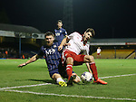 Southend's Gary Deegan tussles with Sheffield United's Ryan Flynn during the League One match at Roots Hall Stadium.  Photo credit should read: David Klein/Sportimage