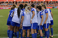 Houston, TX - Wednesday June 28, 2017: Boston Breakers  huddle prior to a regular season National Women's Soccer League (NWSL) match between the Houston Dash and the Boston Breakers at BBVA Compass Stadium.