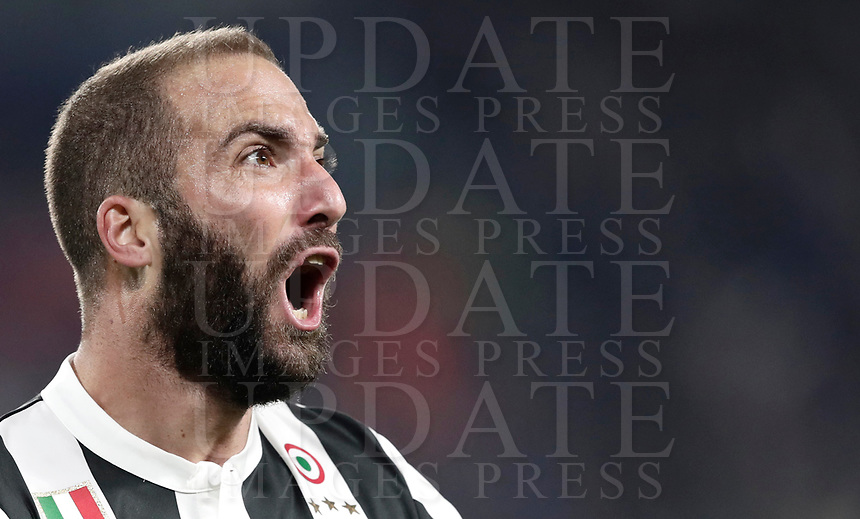 Football Soccer: UEFA Champions League Juventus vs Olympiacos Allianz Stadium. Turin, Italy, September 27, 2017. <br /> Juventus' Gonzalo Higuain celebrates after scoring during the Uefa Champions League football soccer match between Juventus and Olympiacos at Allianz Stadium in Turin, September 27, 2017.<br /> UPDATE IMAGES PRESS/Isabella Bonotto