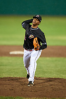 Batavia Muckdogs relief pitcher Luis Mojica (30) delivers a pitch during a game against the Williamsport Crosscutters on June 22, 2018 at Dwyer Stadium in Batavia, New York.  Williamsport defeated Batavia 9-7.  (Mike Janes/Four Seam Images)
