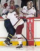 Mikyla Grant-Mentis (Merrimack - 13), Bridget McCarthy (BC - 21), Megan Keller (BC - 4), Gabri Switaj (BC - 32) - The number one seeded Boston College Eagles defeated the eight seeded Merrimack College Warriors 1-0 to sweep their Hockey East quarterfinal series on Friday, February 24, 2017, at Kelley Rink in Conte Forum in Chestnut Hill, Massachusetts.The number one seeded Boston College Eagles defeated the eight seeded Merrimack College Warriors 1-0 to sweep their Hockey East quarterfinal series on Friday, February 24, 2017, at Kelley Rink in Conte Forum in Chestnut Hill, Massachusetts.
