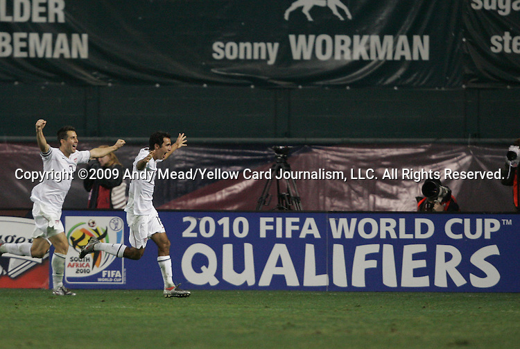 14 October 2009: Jonathan Bornstein (USA) (right) celebrates his game-tying goal with Carlos Bocanegra (USA) (3). The United States Men's National Team played the Costa Rica Men's National Team to a 2-2 tie at RFK Stadium in Washington, DC in the Hexagonal, the final CONCACAF round, a FIFA 2010 South Africa World Cup Qualifier.