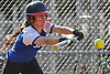 Kayla Pilotti #13, Calhoun centerfielder, makes a successful sacrifice bunt to move runners to second and third with one out in the bottom of the fourth inning of the Nassau County varsity softball Class AA semifinals against Farmingdale at Calhoun High School on Monday, May 14, 2018. Calhoun went on to score four runs in the frame and took Game 1 of the best-of-three playoff series with a 4-2 win.