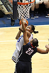 30 January 2012: Duke's Richa Jackson (15) is defended by Connecticut's Kaleena Mosqueda-Lewis (23). The Duke University Blue Devils played the University of Connecticut Huskies at Cameron Indoor Stadium in Durham, North Carolina in an NCAA Division I Women's basketball game.