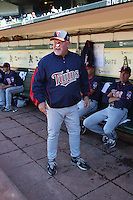 OAKLAND, CA - JUNE 5:  Manager Ron Gardenhire #35 of the Minnesota Twins gets ready in the dugout before the game against the Oakland Athletics at the Oakland-Alameda County Coliseum on June 5, 2010 in Oakland, California. Photo by Brad Mangin