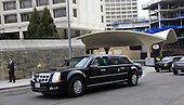 The Presidential Limousine passes the Washington Hilton Hotel in Washington, D.C. after United States President Barack Obama attended the National Prayer Breakfast there on February 5, 2015.  U.S. and international leaders from different parties and religions gather annually at this event for an hour devoted to faith and prayer.<br /> Credit: Dennis Brack / Pool via CNP