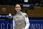 DURHAM, NC - FEBRUARY 25: Notre Dame's Lee Kiefer after winning her Women's Foil semifinal match. The Atlantic Coast Conference Fencing Championships were held on February, 25, 2017, at Cameron Indoor Stadium in Durham, NC.