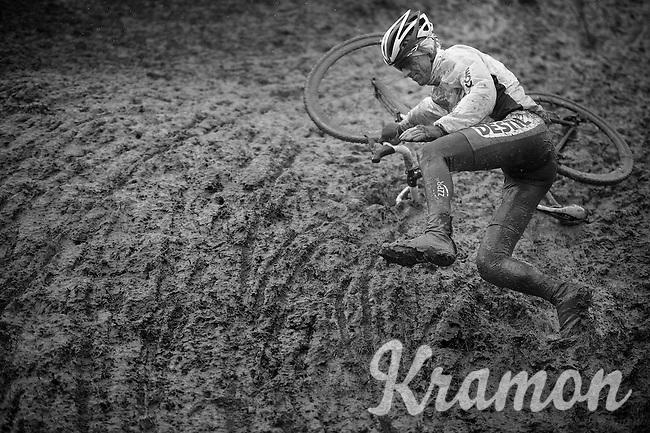 Patrick van Leeuwen (NLD) smiling while crashing at recon<br /> <br /> Bpost Bank Trofee - GP Mario De Clerq 2013