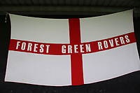 A Forest Green Rovers banner on display at the back of the stand at the home end during Forest Green Rovers vs MK Dons, Caraboa Cup Football at The New Lawn on 8th August 2017