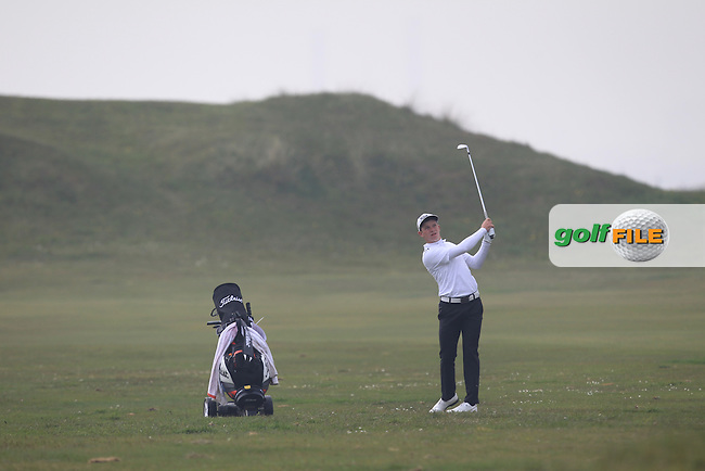 William Enefer (ENG) on the 3rd during Round 3 of the Flogas Irish Amateur Open Championship at Royal Dublin on Saturday 7th May 2016.<br /> Picture:  Thos Caffrey / www.golffile.ie