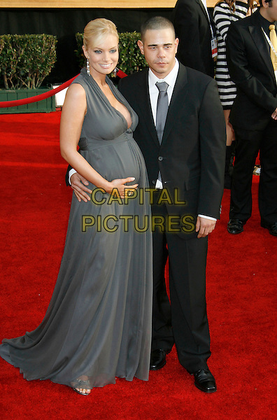 JAIME PRESSLY & D.J. ERIC CUBICHE .Red Carpet Arrivals - 13th Annual Screen Actors Guild (SAG) Awards, held at the Shrine Auditorium, Los Angeles, California, USA, 28 January 2007..full length grey dress jamie pregnant.CAP/ADM/RE.©Russ Elliot/AdMedia/Capital Pictures.