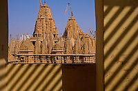 View of the main Jain temple from a window across the road. Jaisalmer, the &quot;Golden City,&quot; is located on the westernmost frontier of India in the state of Rajasthan. Close to the Pakistan border, the city is known for its proximity to the Thar Desert.<br />
