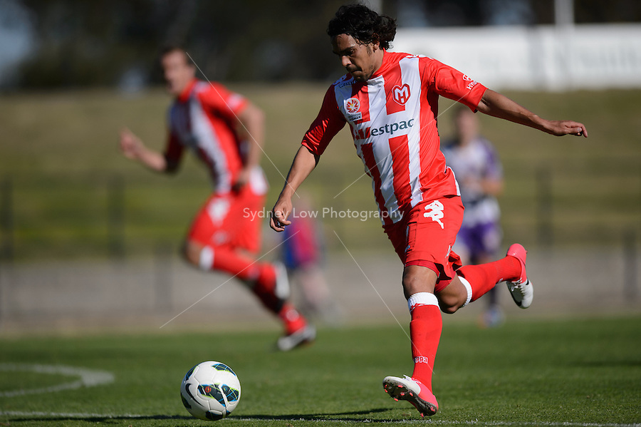 MELBOURNE - 22 September: Josh GROENWALD of the Heart controls the ball at a pre-season match between Melbourne Heart and Perth Glory at Epping Stadium on 22 September 2012. (Photo by Sydney Low / syd-low.com)