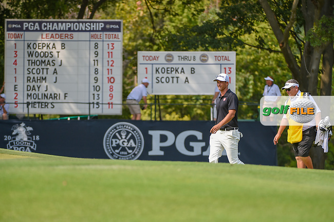 Adam Scott (AUS) approaches the green on 9 during 4th round of the 100th PGA Championship at Bellerive Country Club, St. Louis, Missouri. 8/12/2018.<br /> Picture: Golffile | Ken Murray<br /> <br /> All photo usage must carry mandatory copyright credit (© Golffile | Ken Murray)