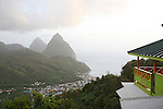 Overlook of Soufriere village, St. Lucia, with the Pitons in background